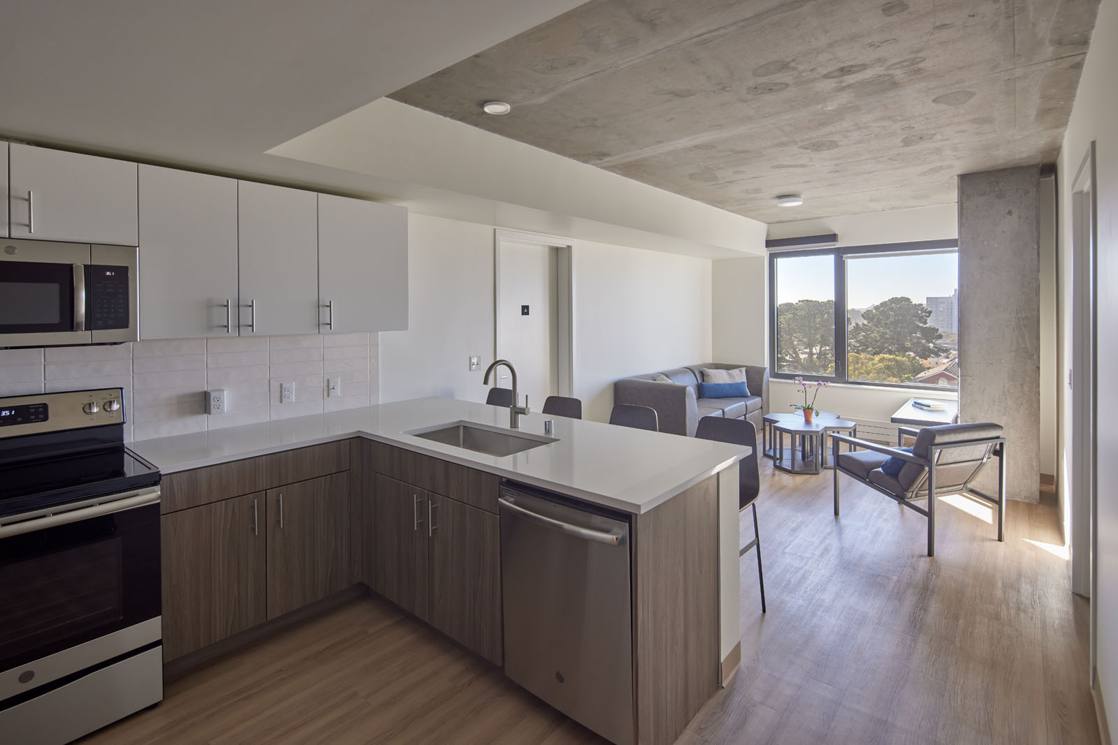 Manzanita Square Kitchen & Living Room
