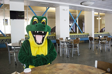 Gator Mascot in the Dining Center