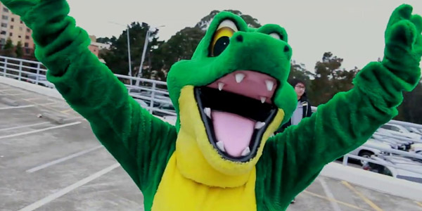 Gator Mascot in Parking lot