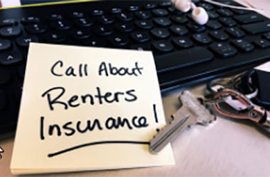 Reminder post-it to call for renter's insurance