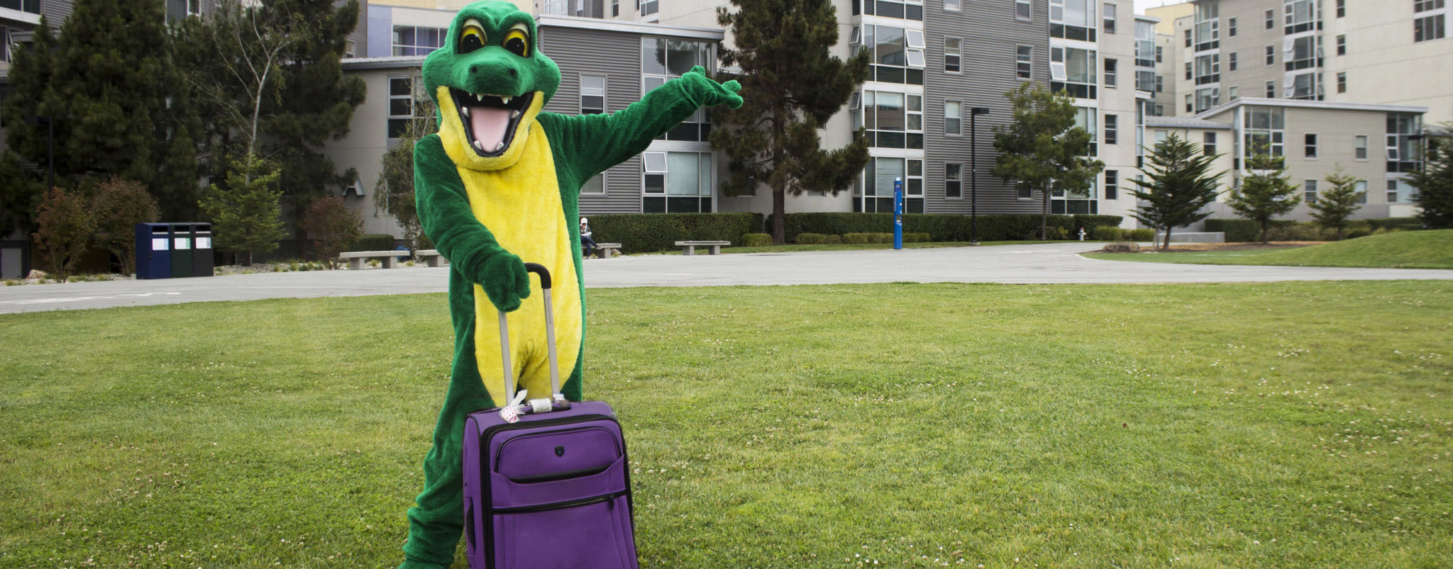 Gator mascot with Suitcase